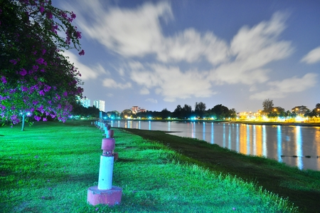 sg: Park by Kallang river at night with moving cloud in the background Stock Photo