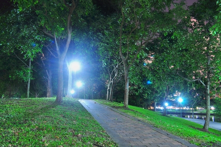 parks: Small ascending path with lights in the background, in Punggol Park Hougang, Singapore at night Stock Photo