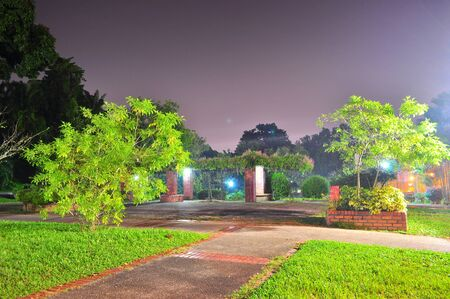 Walkways at Ang Mo Kio Town Garden (north of Singapore) by night
