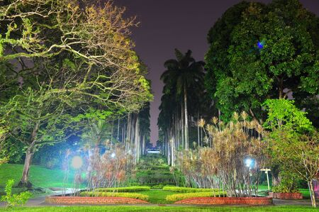 Front view of Ang Mo Kio Town Garden, located in north of Singapore, by night Banco de Imagens
