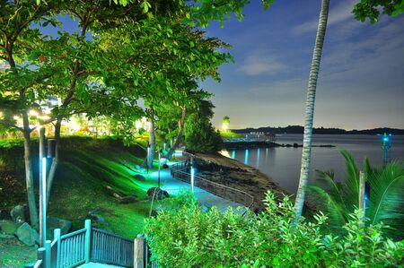 A walkway by the beach in Changi village (Singapore) surrounded by lush greenery by night