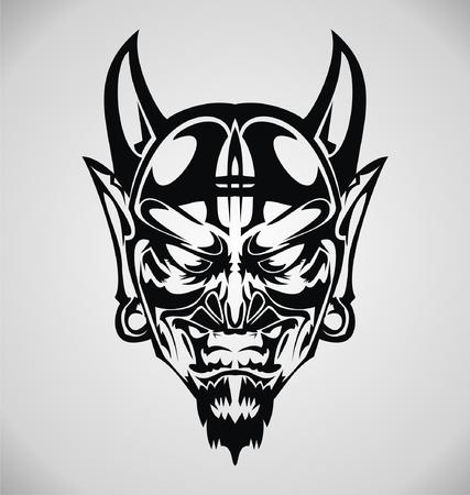 gothic: Devil Face Tribal Illustration
