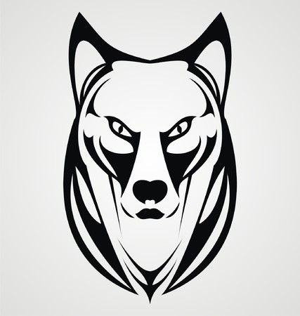 Wild Dog Face Tribal Vector