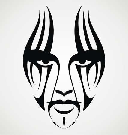 tatouage visage: Tatouage tribal de visage Illustration