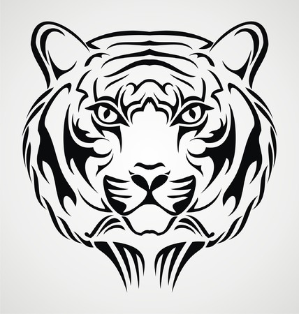 tatouage visage: Tiger Visage Design Tattoo Illustration