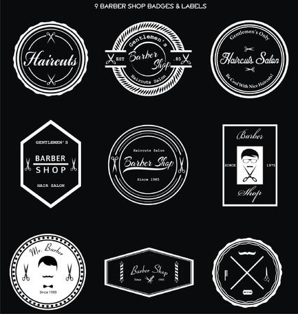 barber: Barber Shop Badges & Labels Illustration