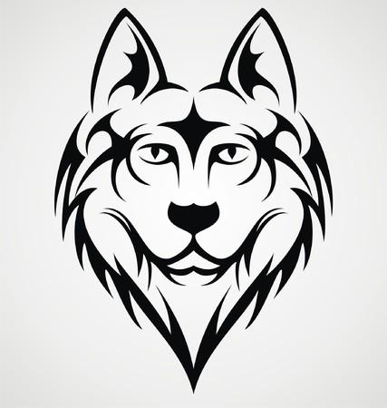 Wolf Head Tribal Vector