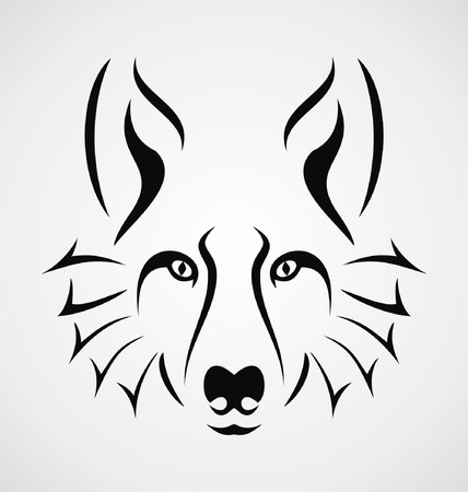 tatouage visage: Visage de loup Tattoo Illustration