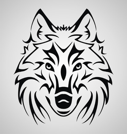 draw: Wolf Head Tribal Illustration