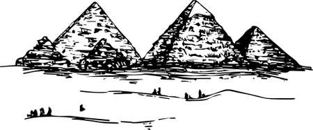 he Pyramids of Giza vector hand drawn black and white illustration. sketchy image of pyramids in Egypt. desert with huge gigantic pyramids and people on background
