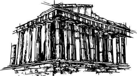 Acropolis of Athens vector hand drawn black and white illustration. monochromatic sketchy image of a famous temple. classic Greek architecture line art