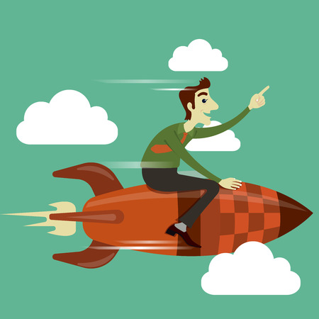 business flying: Businessman riding on rocket flying in the sky, business concept in growth and successful.