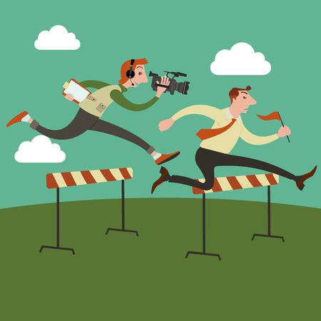 running track: Zakenman springen over hindernis op een atletiekbaan op de weg naar succes, gerund door cameraman achter. Stock Illustratie
