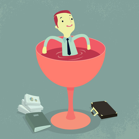 repose: Businessman relaxing in a glass of wine. Illustration