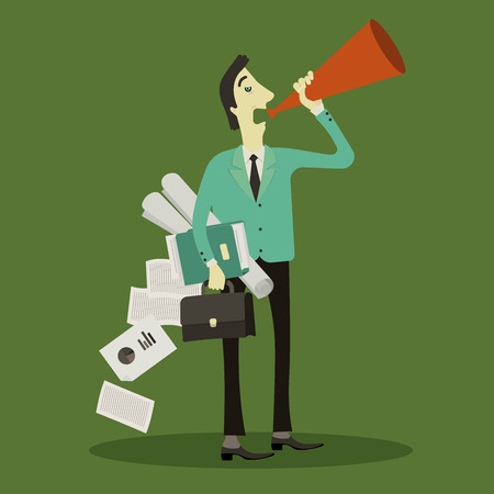 panting: Businessman to broadcast a talk, ad, announcement, communication panting briefcase and documents. Illustration
