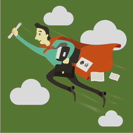 whose: A businessman flying ahead, in whose hands is a briefcase. Illustration