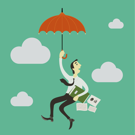 paragliding: Businessman paragliding in the sky with an umbrella.