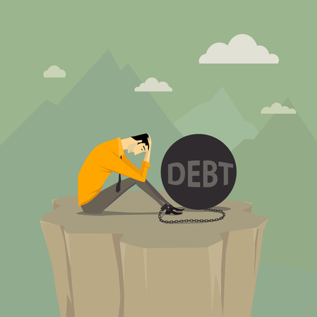 Abstract concept bussiness of despondent, The man be trapped on cliff with steel balls. Vector illustration cartoon modern style.