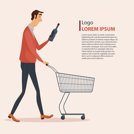 nude man: Man in casual wear with shopping cart, vector illustration.