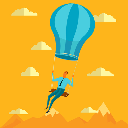 inner peace: Businessman in the sky position sitting on balloon peace for any spiritual and inner peace business concepts,vector illustration. Illustration