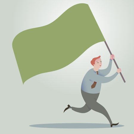 bandera carreras: hombre de negocios corriendo hacia adelante con banderas que agitan.
