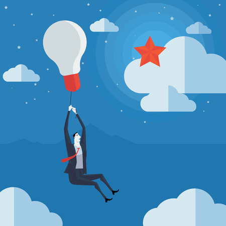 purchasing manager: Businessman flying in air balloon with light bulb see the stars. Vector Illustration Business concept a ladder Corporate of success.