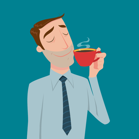 Businessman drinking coffee, tea break time in bright office. Illustration