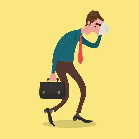 homme triste: Homme d'affaires fatigué essuyage sueur avec un mouchoir. Illustration
