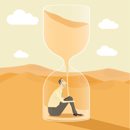 Businessman inside hourglass, concept of achievements in business - vector illustration. Vectores