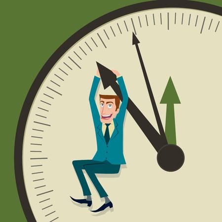 hangs: Businessman hangs on an arrow and of clock.