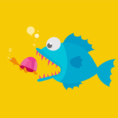 Big fish will eat small turtle