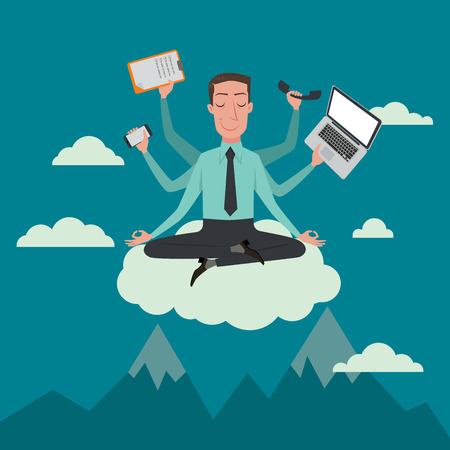Zakenman in de lucht positie mediteren in vrede voor een spirituele en innerlijke rust business concepten, vector illustratie.