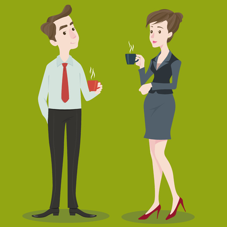Businesswoman and businessman drinking coffee  tea break time in bright office.