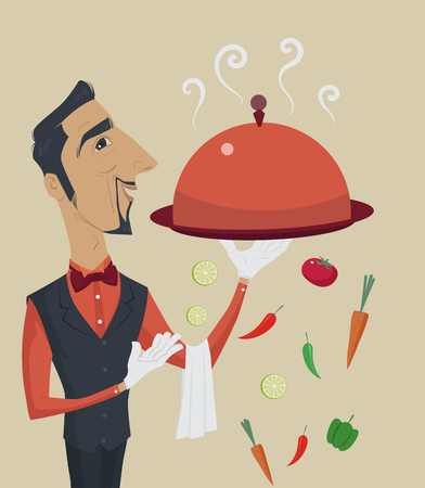 steward: Elegant steward or waiter holding a tray with metal cloche lid cover, Vector Illustration.