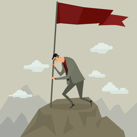 summit: Businessman holding flag on top of mountain after a successful of and challenging ascent, vector illustration.