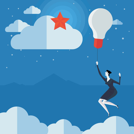 balloon woman: Young woman flying in air balloon with light bulb see the stars. Vector Illustration Business concept a ladder Corporate of success. Illustration