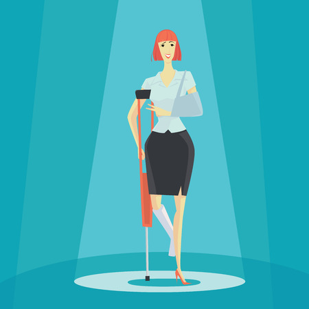 bones cartoon: Young woman on crutches of an injured, full length portrait. Vector illustration business concept.
