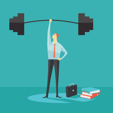 Businessman holding a barbell with one hand, the concept of achievements in business-vector illustration.