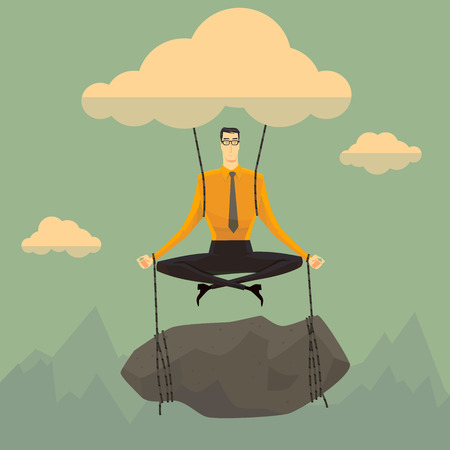 body: Businessman in the sky position meditating in peace for any spiritual and inner peace business concepts,vector illustration.