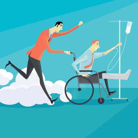 unwell: Businessman on wheelchair of an injured, full length portrait. Vector illustration business concept.