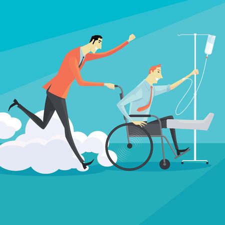 persona en silla de ruedas: Hombre de negocios en silla de ruedas de un lesionado, retrato de cuerpo entero. Vector ilustración concepto de negocio. Vectores