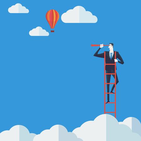雲の上の双眼鏡を使用してラダーの実業家。ベクトル イラスト ビジネス コンセプト企業成功のはしご。