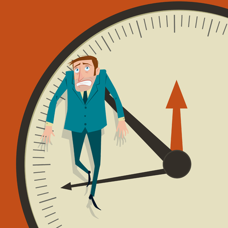hangs: Businessman hangs on an arrow of clock. Illustration
