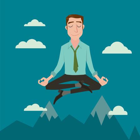 paz interior: Hombre de negocios en la posición cielo meditar en paz por cualquier concepto de negocio de la paz espiritual e interior, ilustración vectorial. Vectores