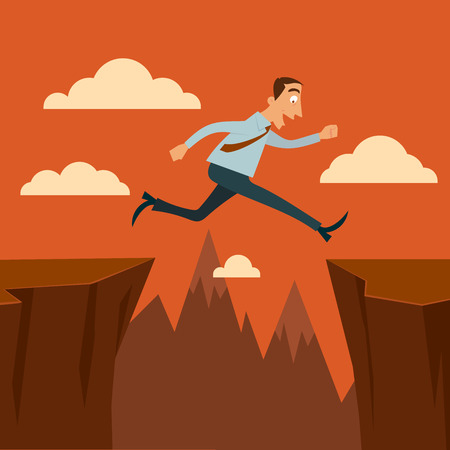 Businessman jumping over a chasms.