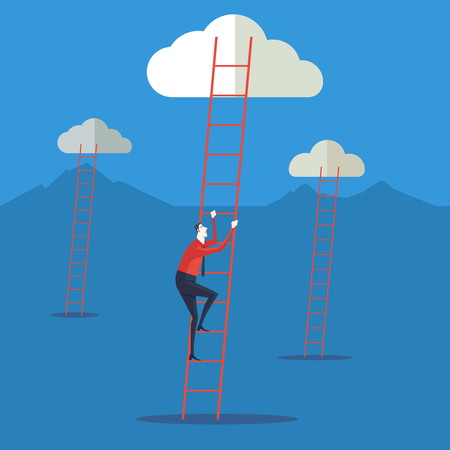 clamber: Businessman climbing up a ladder to cloud. Vector Illustration Business concept a ladder Corporate of success.