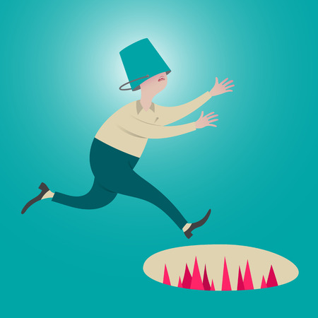 Male running with a bucket head. Unseen pitfall ahead.