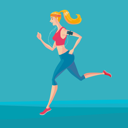 ear bud: Sporty young woman jogger listening to music on smartphone. Runner with smartphone armband. Vector Illustrator.