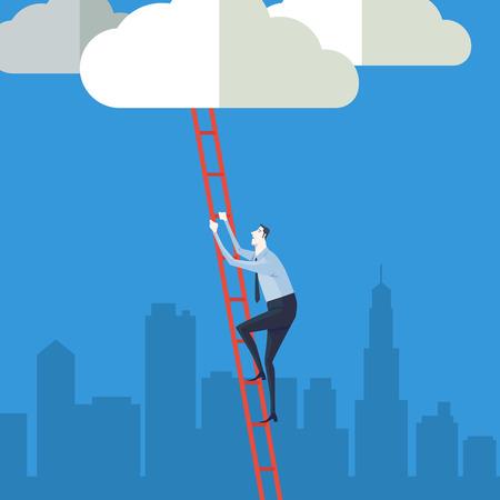 escalando: Empresario subiendo por una escalera a la nube. Ilustración vectorial Concepto de negocio de una empresa escalera del éxito.