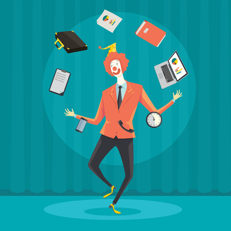 juggle: Funny businessman juggling with office equipment. Creative vector cartoon illustration on make money and wealth management concept.